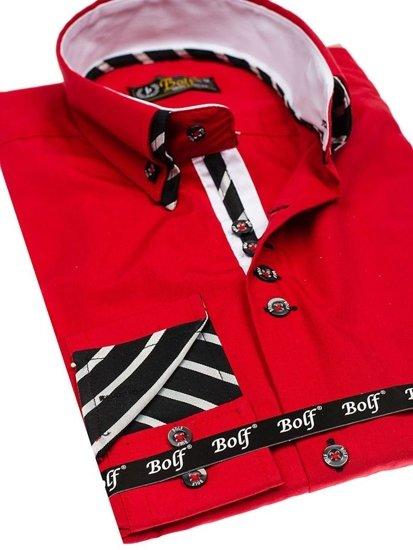 Bolf Herren Hemd Langarm Rot Bolf 3762
