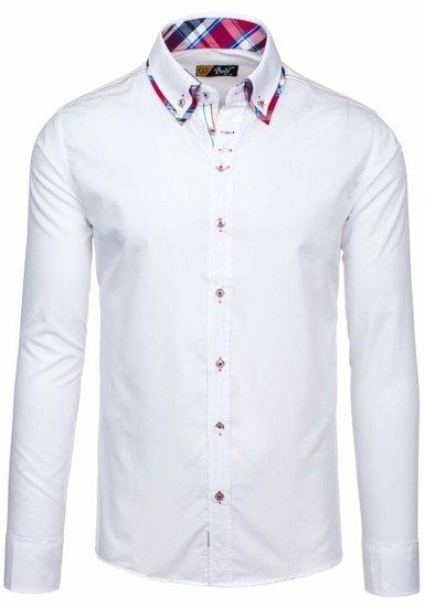 Bolf Herren Hemd Langarm Elegant Weiß 3701