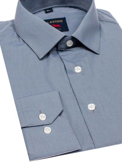 Bolf Herren Hemd Elegant Langarm Grau Denley TS100