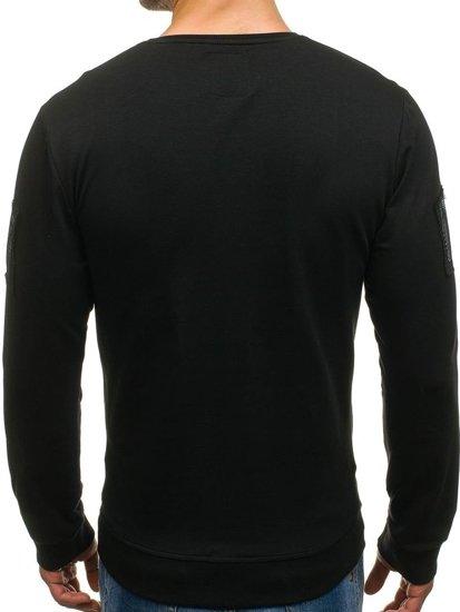 Bolf Herren Sweatshirt ohne Kapuze mit Motiv Schwarz  M06