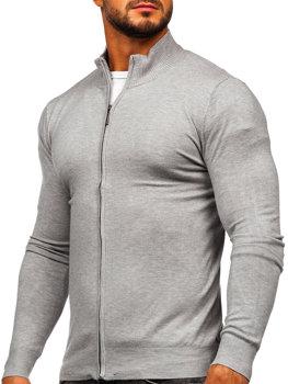 Bolf Herren Pullover Aufknöpfbar Grau  YY07