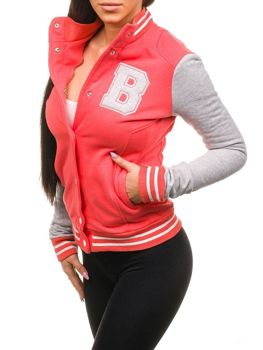 Bolf Damen Baseball Sweatshirts Korallenrot 19S