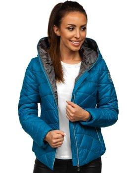 Bolf Damen Gepolsterte Winterjacke mit Kapuze Blau  A5701