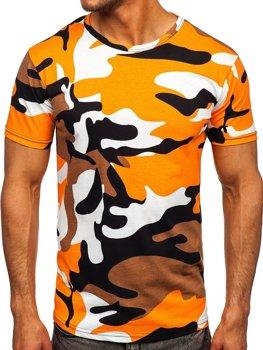 Bolf Herren Baumwoll T-Shirt mit Motiv Camo Orange  14930