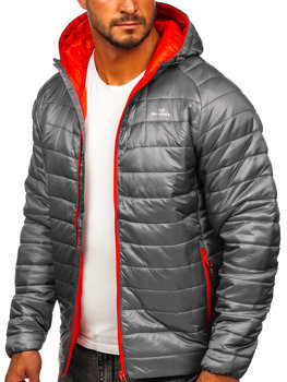 Bolf Herren Gepolsterte Übergangsjacke Sport Jacke Grau  K016