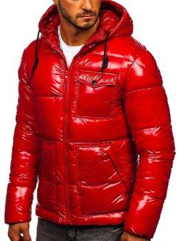 Bolf Herren Gepolsterte Winterjacke Sport Jacke Rot  973