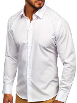 Bolf Herren Hemd Elegant Langarm Weiß  0001