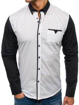 Bolf Herren Hemd Elegant Langarm  Weiß 5726
