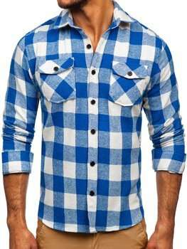 Bolf Herren Hemd Flanellhemd Langarm Blau 20723