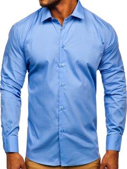 Bolf Herren Hemd Langarm Elegant Blau SM39