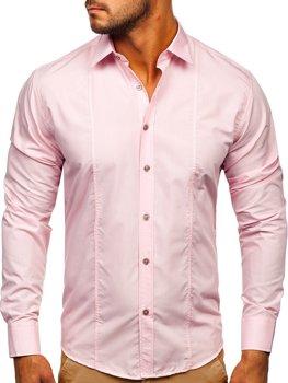 Bolf Herren Hemd Langarm Elegant Rosa  4705G