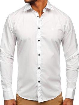 Bolf Herren Hemd Langarm Elegant Weiß 4719