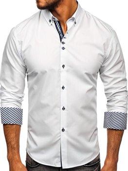 Bolf Herren Hemd Langarm Elegant Weiß 5796