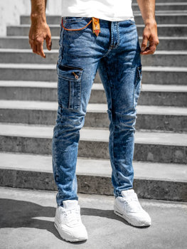 Bolf Herren Jeanshose Cargohose skinny fit mit Dunkelblau R51006S0