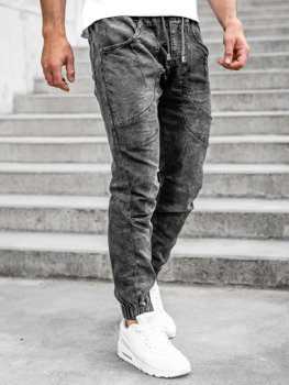 Bolf Herren Jeanshose Jogger Pants Schwarz  K10001-2