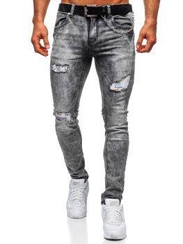 Bolf Herren Jeanshose regular fit mit Gürtel Grau  6038S0