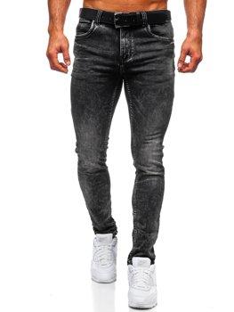 Bolf Herren Jeanshose regular fit mit Gürtel Schwarz  30035W0