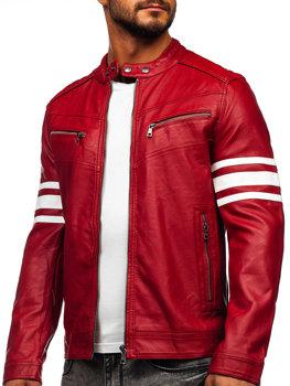 Bolf Herren Kunstlederjacke Biker Jacke Rot  BF59359