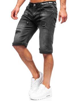 Bolf Herren Kurze Hose Jeans Shorts Schwarz  K15002-2