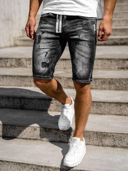 Bolf Herren Kurze Hose Jeansshorts Schwarz R3003