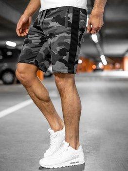 Bolf Herren Kurze Sporthose Shorts Camo Schwarzgrau  K10037