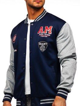 Bolf Herren Leichte Sweatshirt-Jacke ohne Kapuze College Baseball Jacke  Dunkelblau  B10155