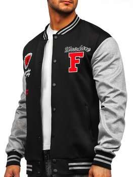 Bolf Herren Leichte Sweatshirt-Jacke ohne Kapuze College Baseball Jacke Dunkelblau  B10160