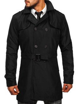 Bolf Herren Mantel Zweireihig Trenchcoat mit Stehkragen und Gürtel Schwarz  0001