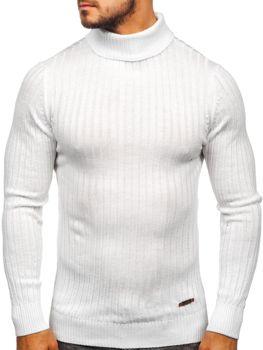 Bolf Herren Pullover Rollkragen Weiß  3070