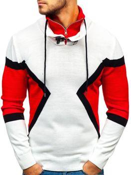 Bolf Herren Pullover Weiß-Rot  1011
