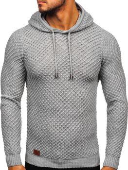 Bolf Herren Pullover mit Kapuze Grau  7004