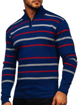 Bolf Herren Pullover mit Stehkragen Blau  W05