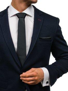 Bolf Herren Set Krawatte, Manschettenknöpfe, Einstecktuch Schwarz  KSP01