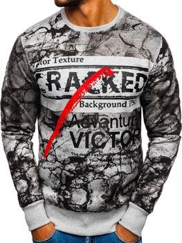 Bolf Herren Sweatshirt mit Motiv Grau  DD636