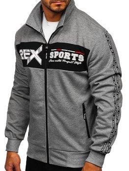 Bolf Herren Sweatshirt mit Reißverschluss Grau  TC1029