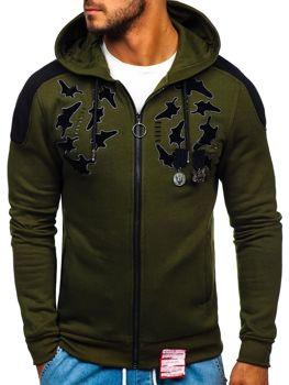Bolf Herren Sweatshirt mit Reißverschluss Grün  GK32