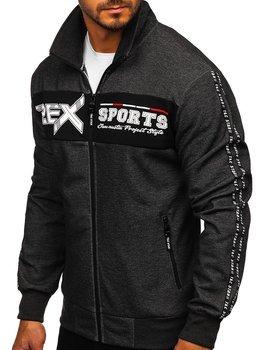 Bolf Herren Sweatshirt mit Reißverschluss Schwarz-Weiß  TC1029