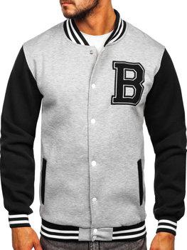 Bolf Herren Sweatshirt mit Reißverschluss ohne Kapuze Grau  10