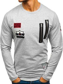 Bolf Herren Sweatshirt ohne Kapuze Grau 0738