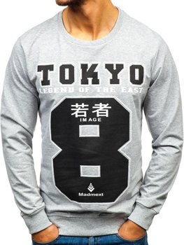 Bolf Herren Sweatshirt ohne Kapuze Grau  1221