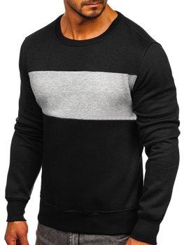 Bolf Herren Sweatshirt ohne Kapuze Schwarz-Grau  2020