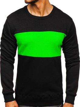 Bolf Herren Sweatshirt ohne Kapuze Schwarz-Grün 2010