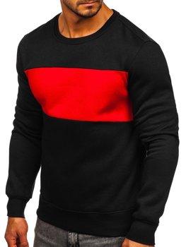 Bolf Herren Sweatshirt ohne Kapuze Schwarz-Rot  2020