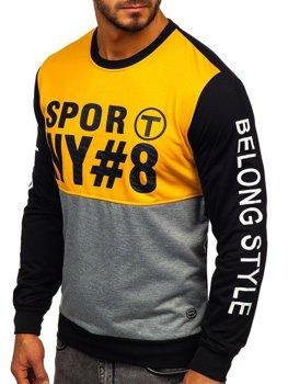 Bolf Herren Sweatshirt ohne Kapuze mit Motiv Gelb  HY541