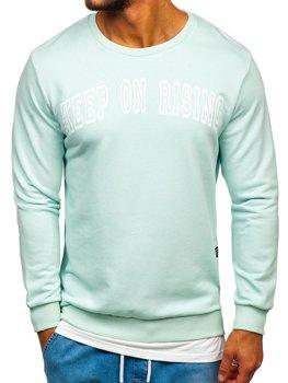 Bolf Herren Sweatshirt ohne Kapuze mit Motiv Mintgrün  11114