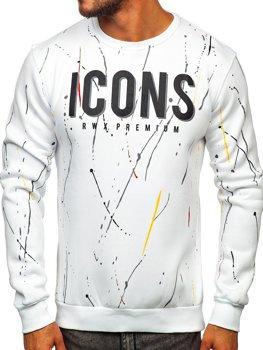 Bolf Herren Sweatshirt ohne Kapuze mit Motiv Weiß  146058