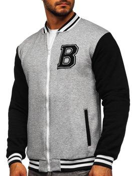 Bolf Herren Sweatshirt ohne Kapuze mit Reißverschluss Grau  BF10