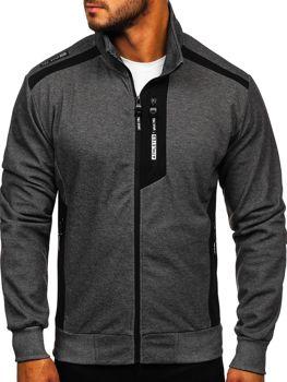Bolf Herren Sweatshirts mit Reißverschluss mit Motiv Schwarzgrau-Weiß  TC1019