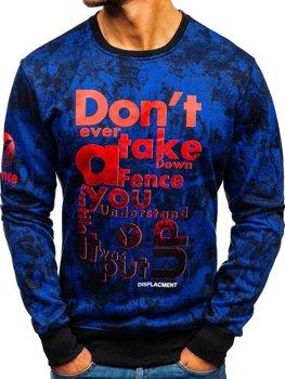 Bolf Herren Sweatshirts ohne Kapuze mit Motiv Blau  DD677-A