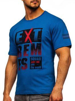 Bolf Herren T-Shirt mit Aufdruck Blau  14312